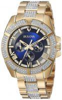 Bulova Crystal Miesten kello 98C128 Sininen/Kullansävytetty teräs