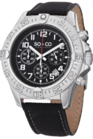 So & Co New York Yacht Timer Miesten kello 5016.1 Musta/Nahka
