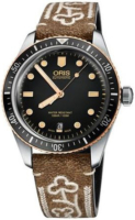 Oris Diving 01 733 7707 4354-07 5 20 59 Musta/Nahka Ø40 mm