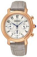 Seiko Chronograph Naisten kello SRW872P1 Valkoinen/Nahka Ø35 mm