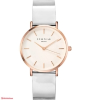 ROSEFIELD -  Premium Gloss White Metallic Rosegold 33mm Rannekello