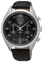 Seiko Chronograph Miesten kello SSB231P1 Musta/Nahka Ø43 mm