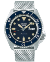 5 Sports Mens 43mm 100m Automatic Steel Mesh/Blue Dial